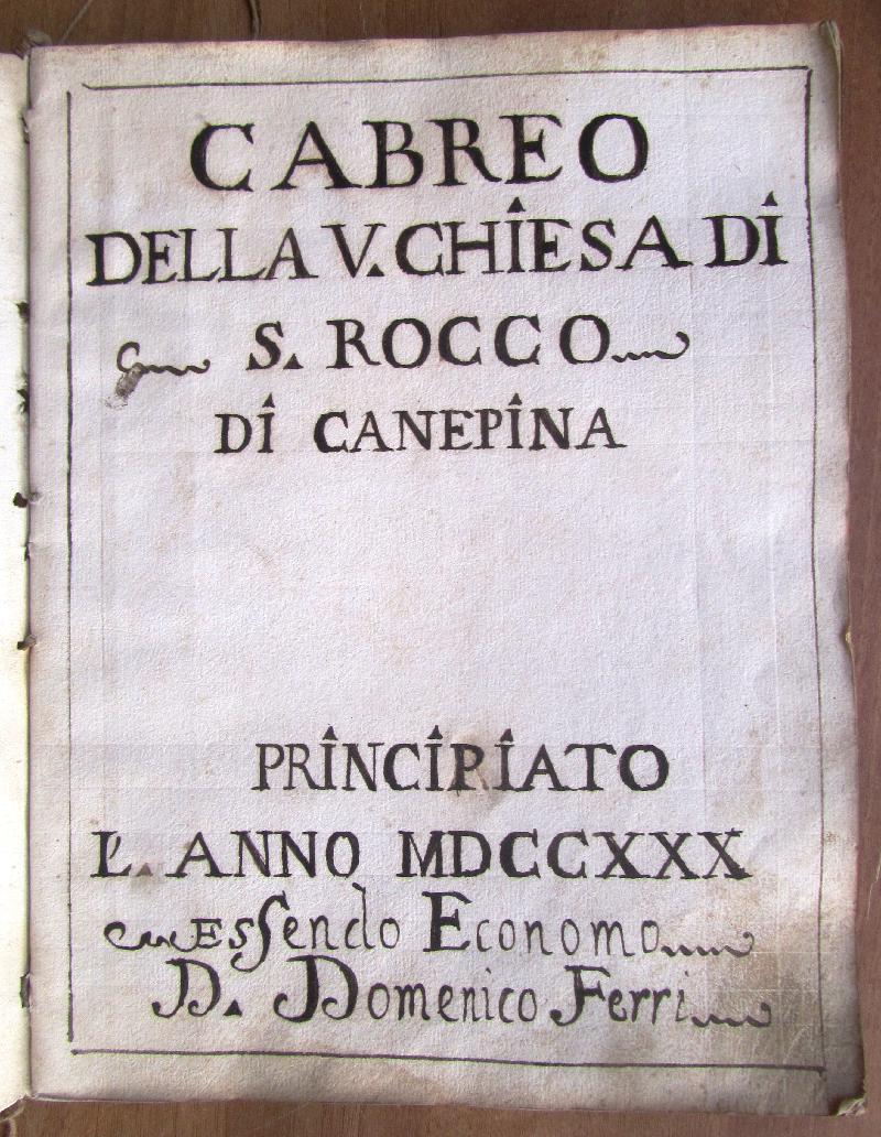 Fondo della parrocchia di S. Rocco <Canepina>