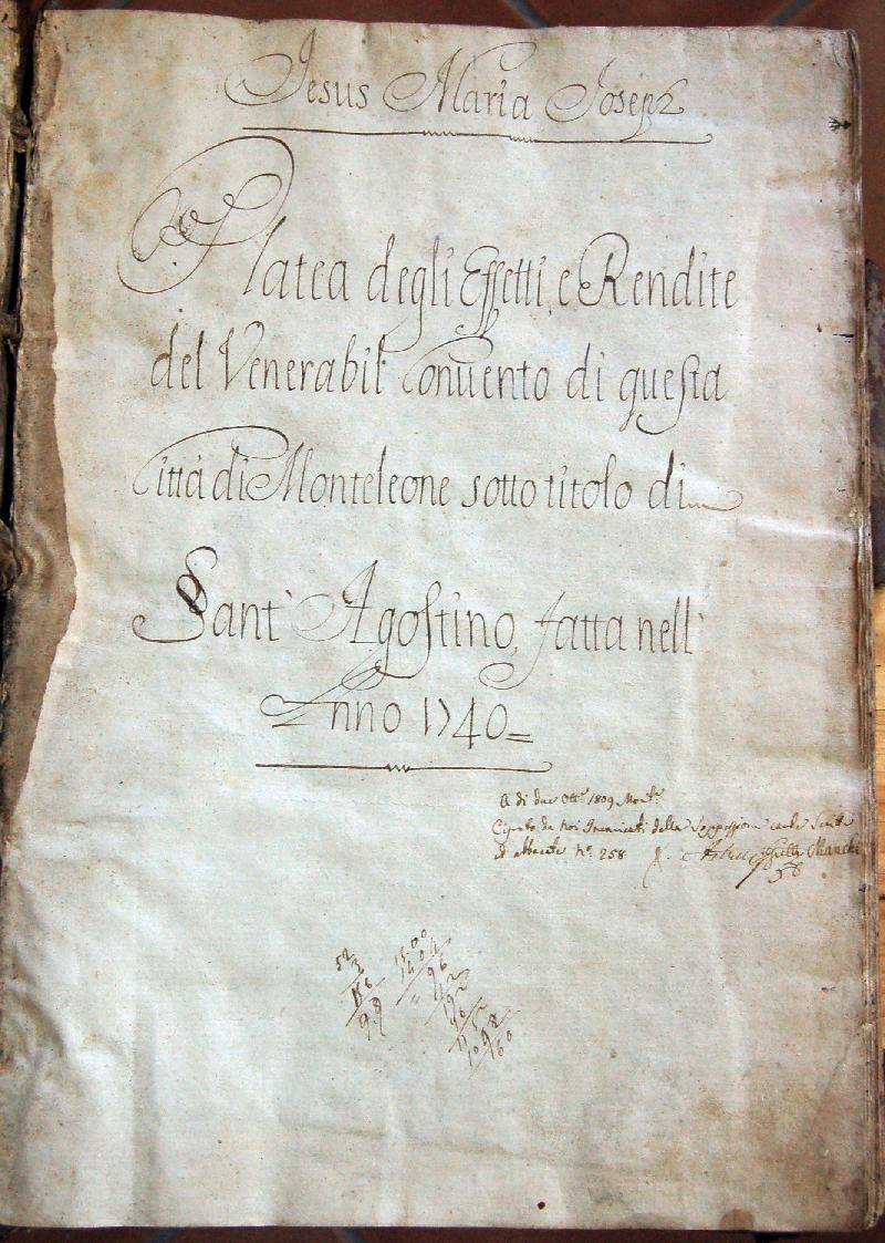 Fondo del convento di Sant' Agostino <Monteleone>