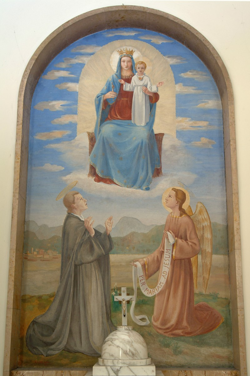 Lazzarini A. (1942), Madonna con Gesù Bambino e San Luigi Montfort