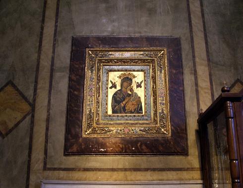 L'icona bizantina della Vergine, databile al XIV sec., dipinta su pietra