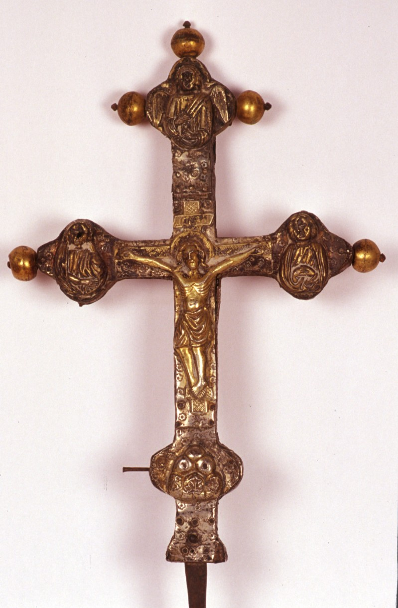 Bott. dell'Italia centrale sec. XIV, Croce processionale con quadrifoglio