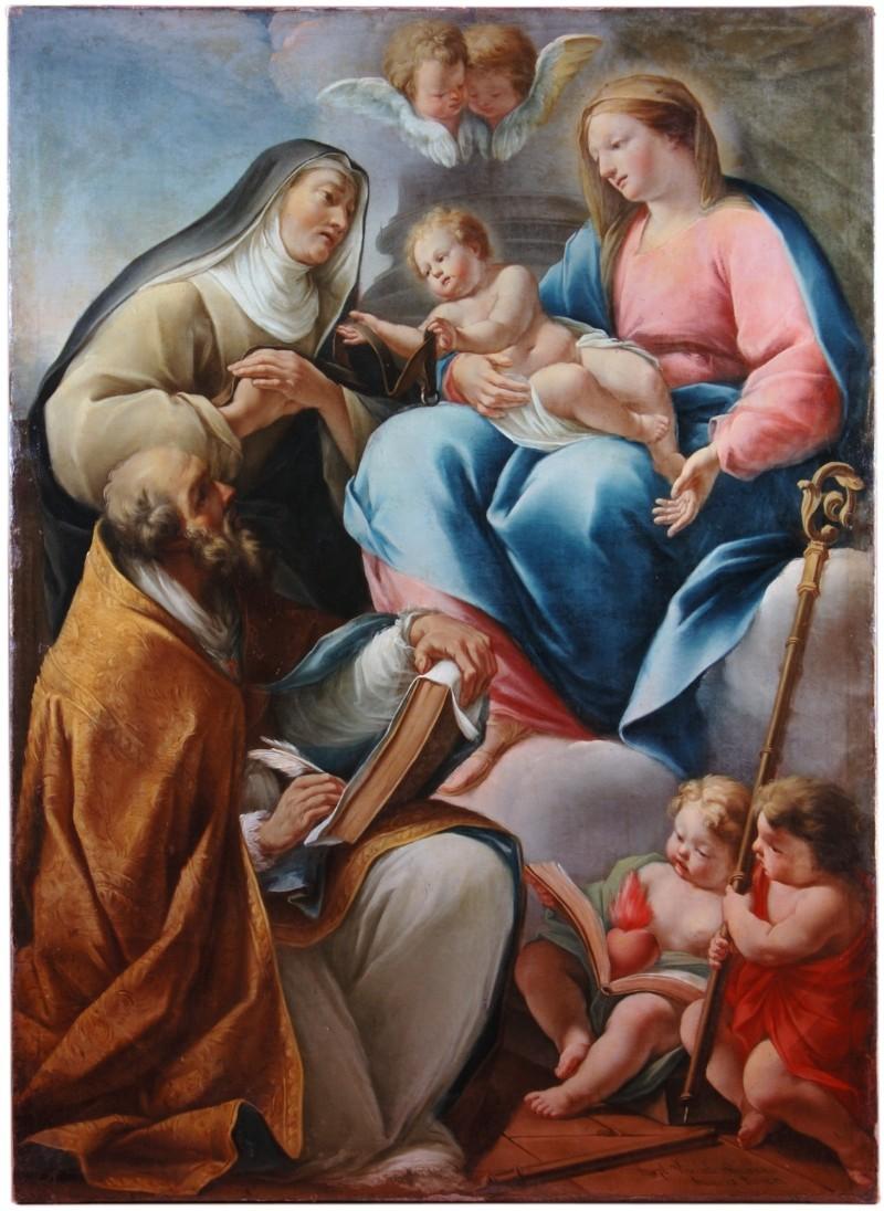 Viscardi G. sec. XVIII, Santa Monica riceve la cintura dalla Madonna col Bambino