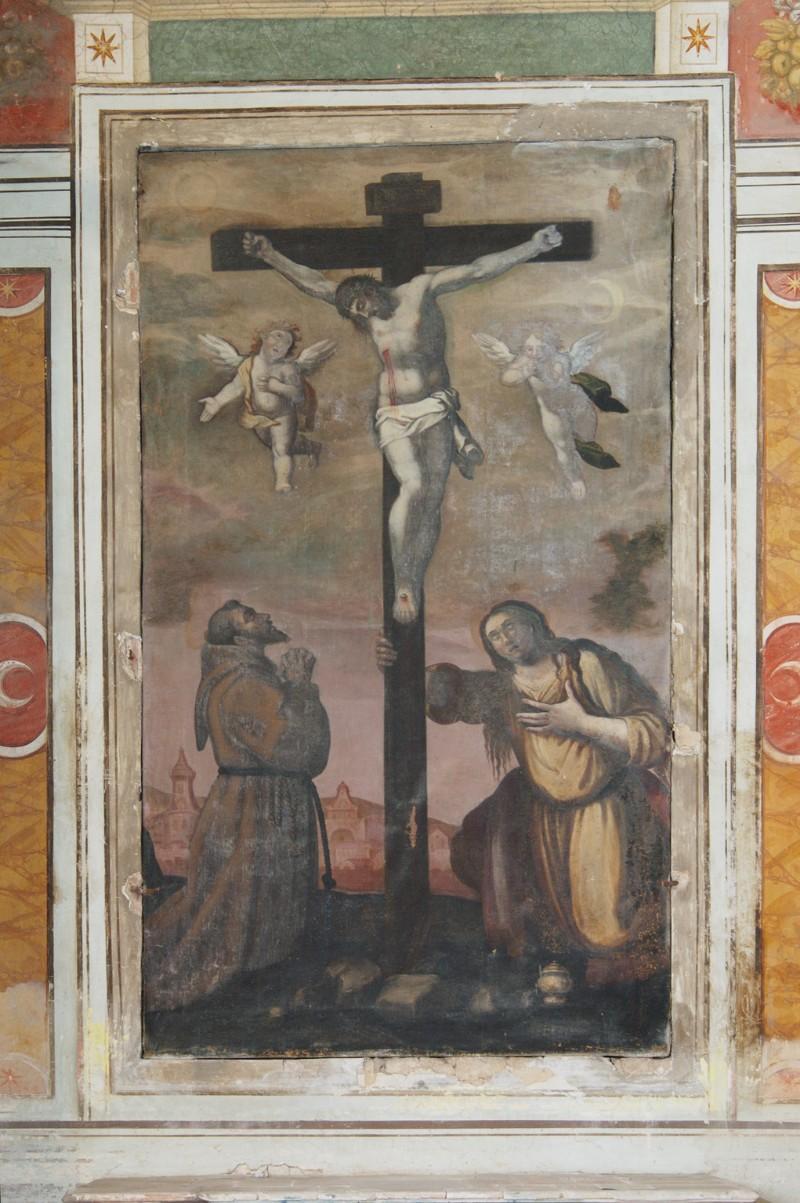 Spacca A. sec. XVII, Dipinto con Gesù Cristo crocifisso e santi