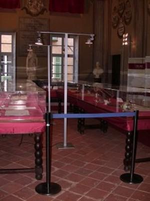 Palazzo dei Vescovi di Saluzzo, Salone degli Stemmi, teche
