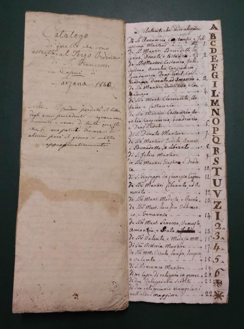 Fondo del Terz'Ordine Francescano del convento di Sarzana <Sarzana>