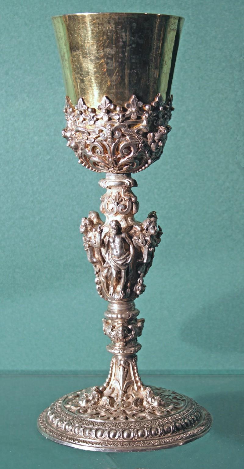 Bott. napoletana secc. XVII-XVIII, Calice con fusto figurato