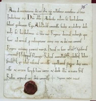 Donazione della contessa Adelasia alla Chiesa di San Bartolomeo delle decime dei giudei. Anno 1108