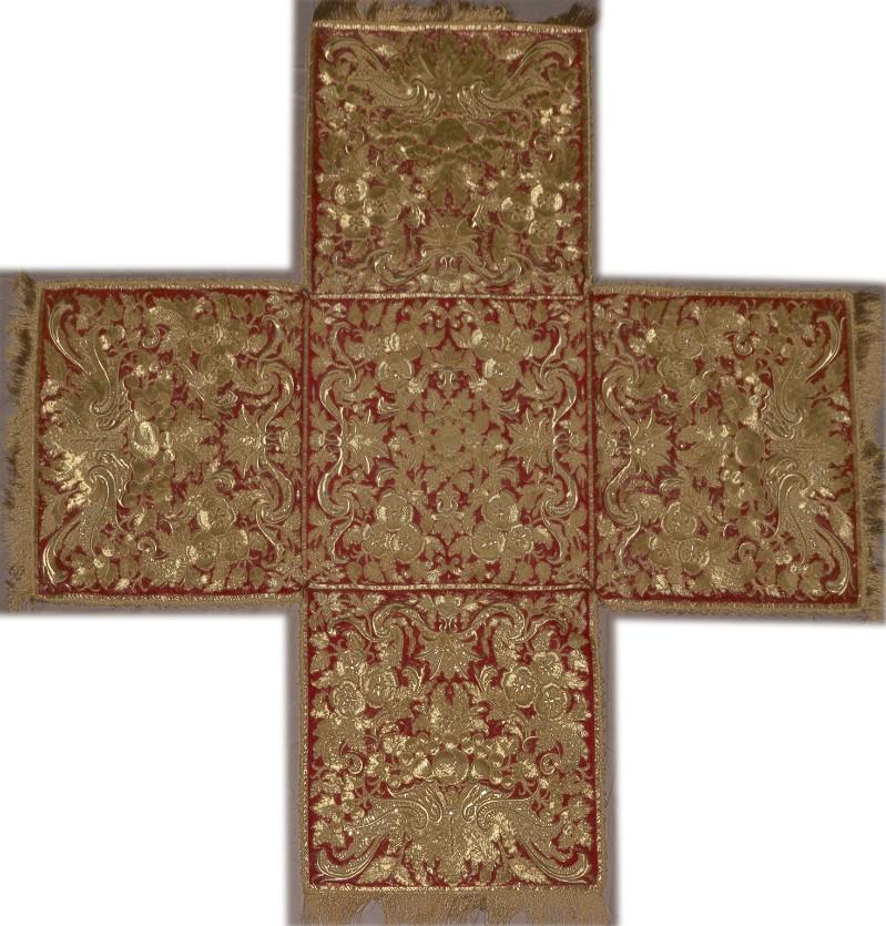 Manif. romana sec. XVIII, Borsa in samice d'oro su seta rossa ricamato