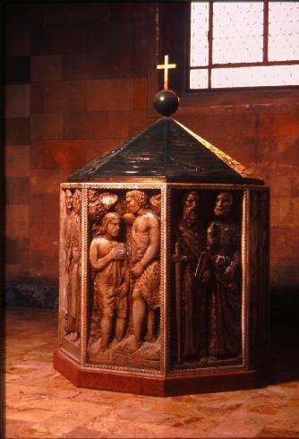 Il fonte battesimale del 1957 di L. Fornasari, P. Perotti