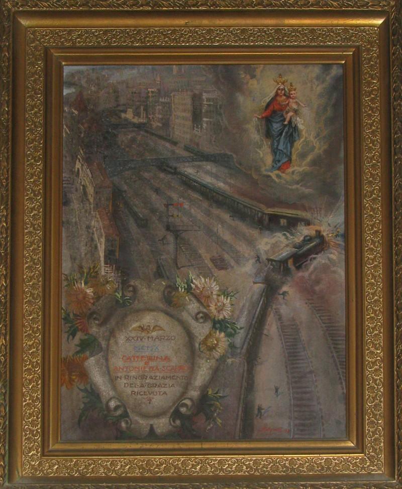 Agretti L. (1927), Dipinto ex voto con scontro tra due treni