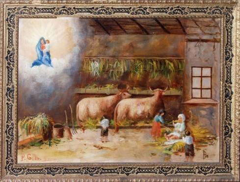 Ambito piemontese sec. XX, Ex voto con bimbi nella stalla
