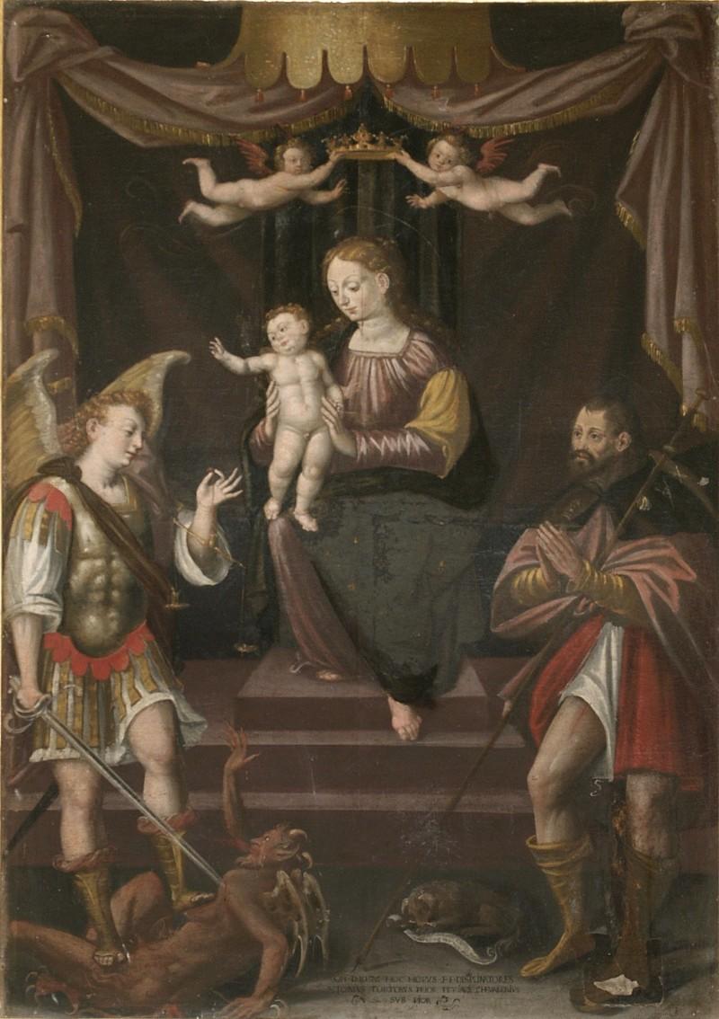 Moncalvo (1585), Madonna con Gesù Bambino con San Michele e San Rocco