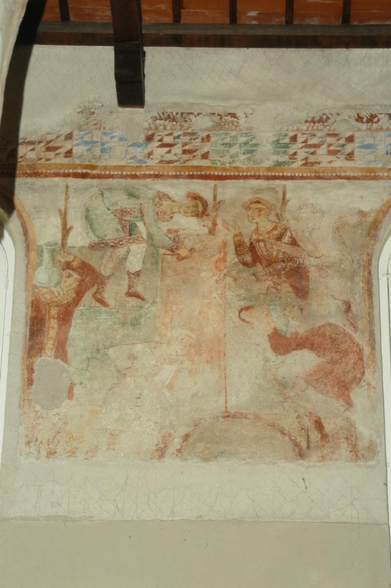 Scuola campana-cassinese sec. XI, Affresco con la Torre di Babele