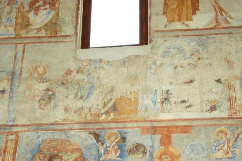 Scuola campana-cassinese sec. XI, Affresco con parabola dell'obolo della vedova