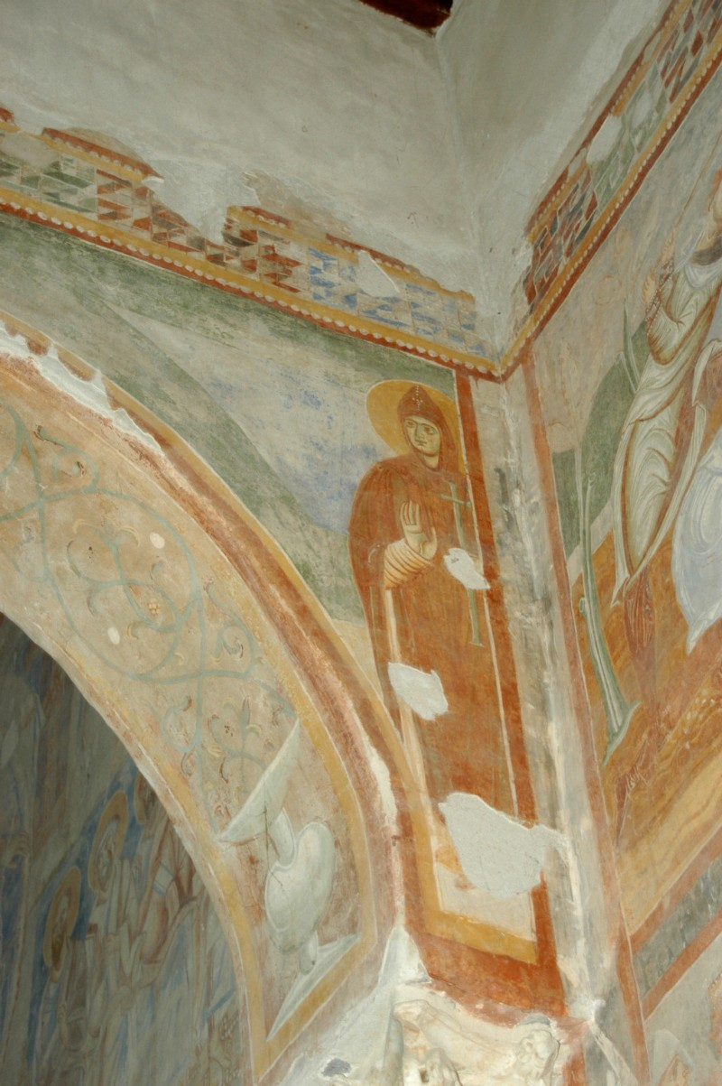 Scuola campano-cassinese sec. XI, Affresco con santo abate 1/8