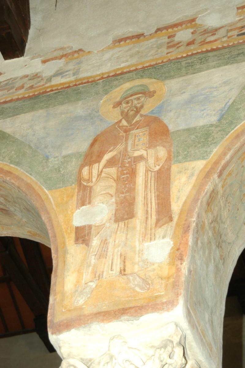 Scuola campano-cassinese sec. XI, Affresco con santo abate 5/8