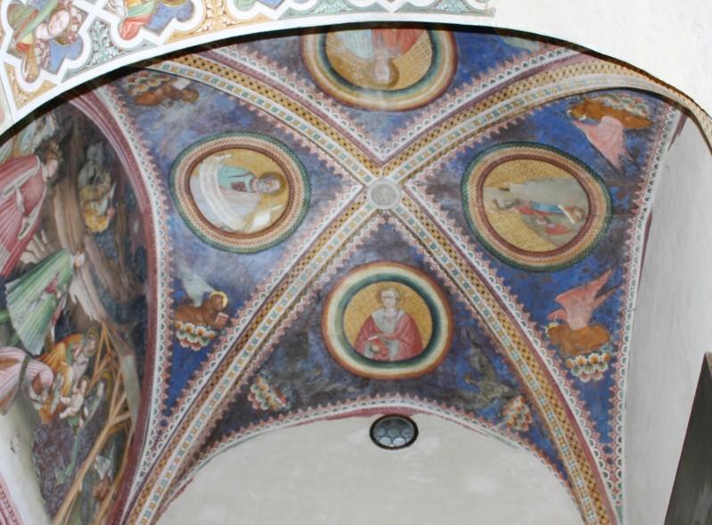 Alberti A. sec. XV, Decorazione murale con gli evangelisti e i loro simboli