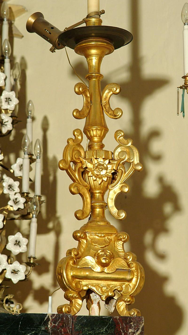 Bottega siciliana sec. XX, Candeliere d'altare con intagli floreali 7/17