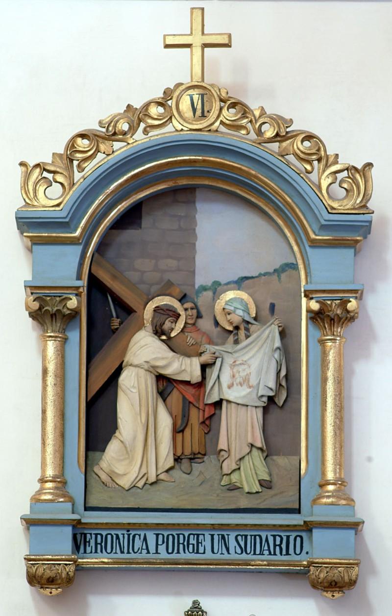 Bottega siciliana sec. XX, Altorilievo con Gesù asciugato da S. Veronica