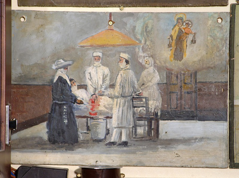 Bottega siciliana sec. XX, Dipinto ex voto con Guarigione miracolosa 4/5