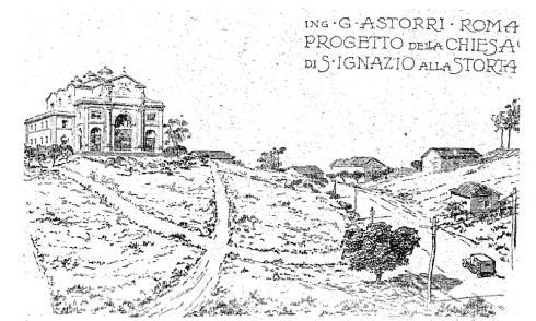 Ing. G. Astorri. Disegno di progetto del complesso architettonico visto dalla Via Cassia