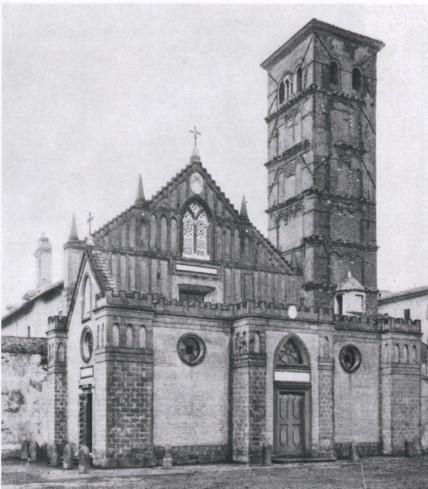 La facciata principale della cattedrale (da C. Gradara, Una badia orientale in Italia, in ''Arte cristiana'', 8, 1920,9-10, pp. 181-182.