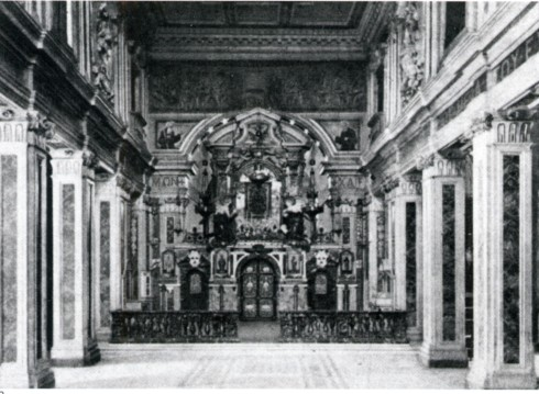 L'interno della cattedrale (da C. Gradara, Una badia orientale in Italia, in ''Arte cristiana'', 8, 1920,9-10, pp. 181-182.