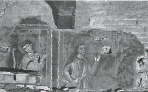 Particolare degli affreschi medievali della navata: Mosè (S. Kambo, Grottaferrata e il Monte Cavo, [Italia artistica,86]. Ist. lt. Arti Grafiche, Bergamo [1922] p. 55) (Lab. fot. Ministero P.l.)