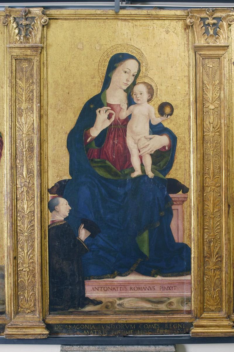 Aquilio A. sec. XV, Dipinto con la Madonna e Gesù Bambino in trono
