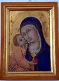Sano di Pietro sec. XV, Madonna con Bambino con tunica rossa e oro