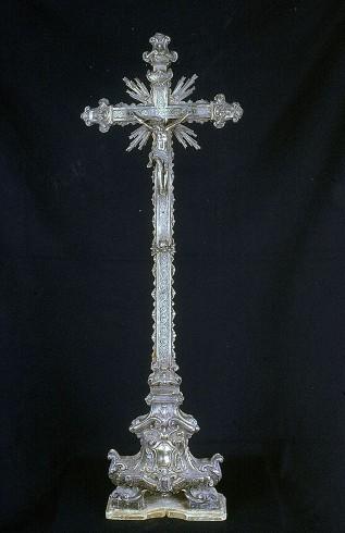 Bott. napoletana sec. XVIII, Croce da altare in argento