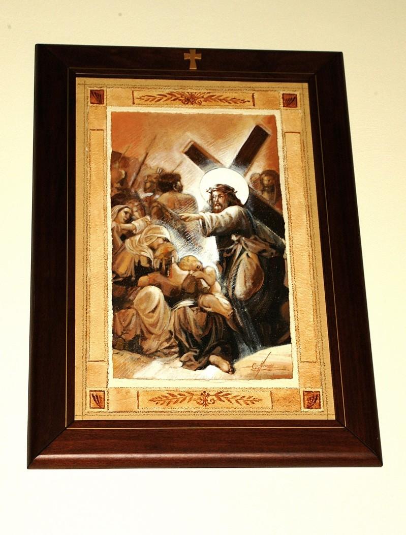 Afrune G. sec. XXI, Cornice di Gesù Cristo consola le donne di Gerusalemme