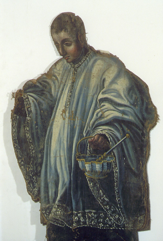 Bottega siciliana sec. XIX, Dipinto di Ecclesiastico con secchiello