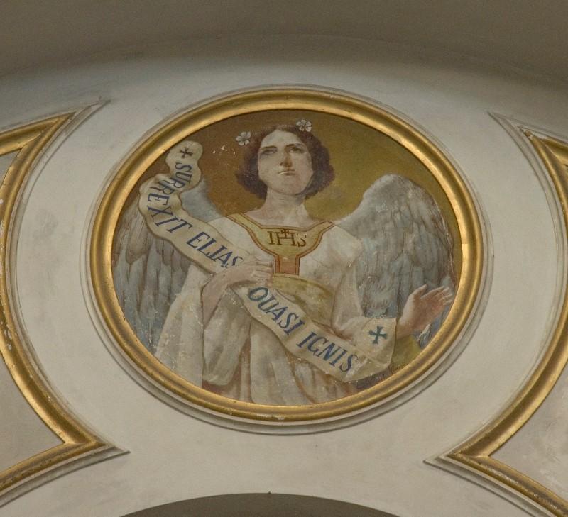 "Conti Consoli S. (1932-1936), Angelo con scritta ""SURREXIT ELIAS QUASI IGNIS"""