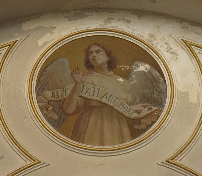 """Conti Consoli S. (1932-1936), Angelo con scritta """"AUT PATI AUT MORI"""""""