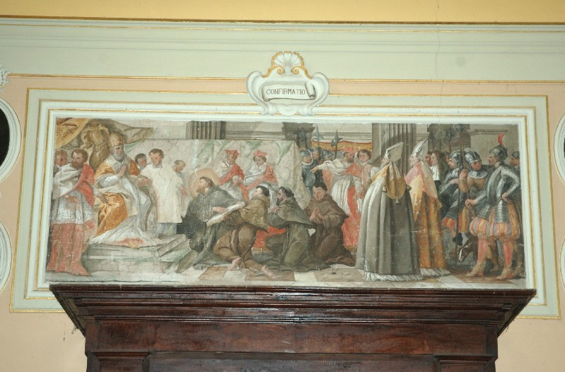 Alerii A. sec. XVII, Dipinto con l'approvazione della regola francescana