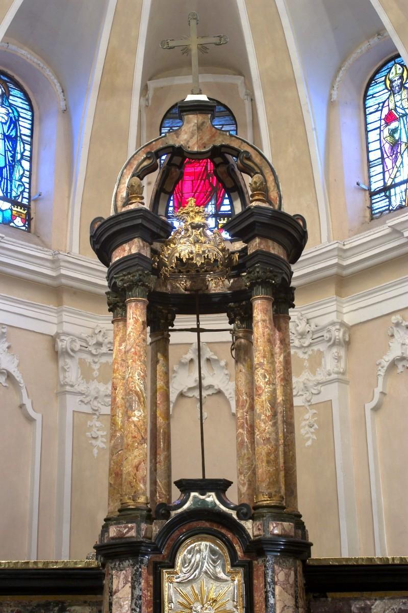 Ambito lombardo sec. XVIII, Baldacchino da altare in marmi policromi e stucco