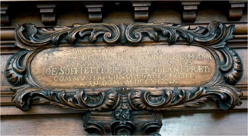 Bottega veneta (1719), Cartiglio con incrizione MAGNIFICI SACRARIJ