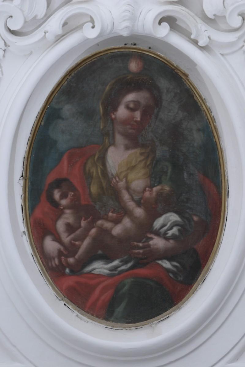 Ambito napoletano sec. XVIII, Carità in olio su tela