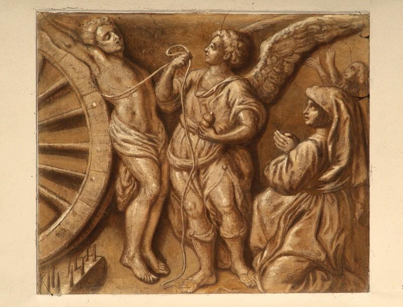 Ambito veneto sec. XIX, San Giorgio slegato dalla ruota da un angelo