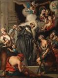 Cartolari F. sec. XVIII, San Tommaso da Villanova dispensa l'elemosina ai poveri