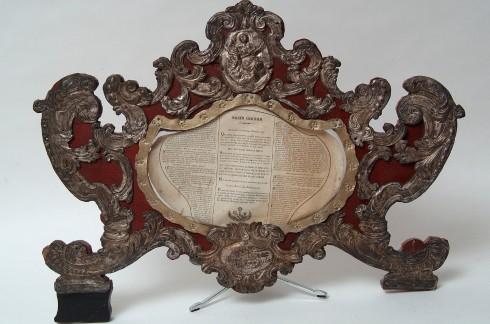 Bott. italiana (1767), Cartagloria con Madonna del rosario cm 58
