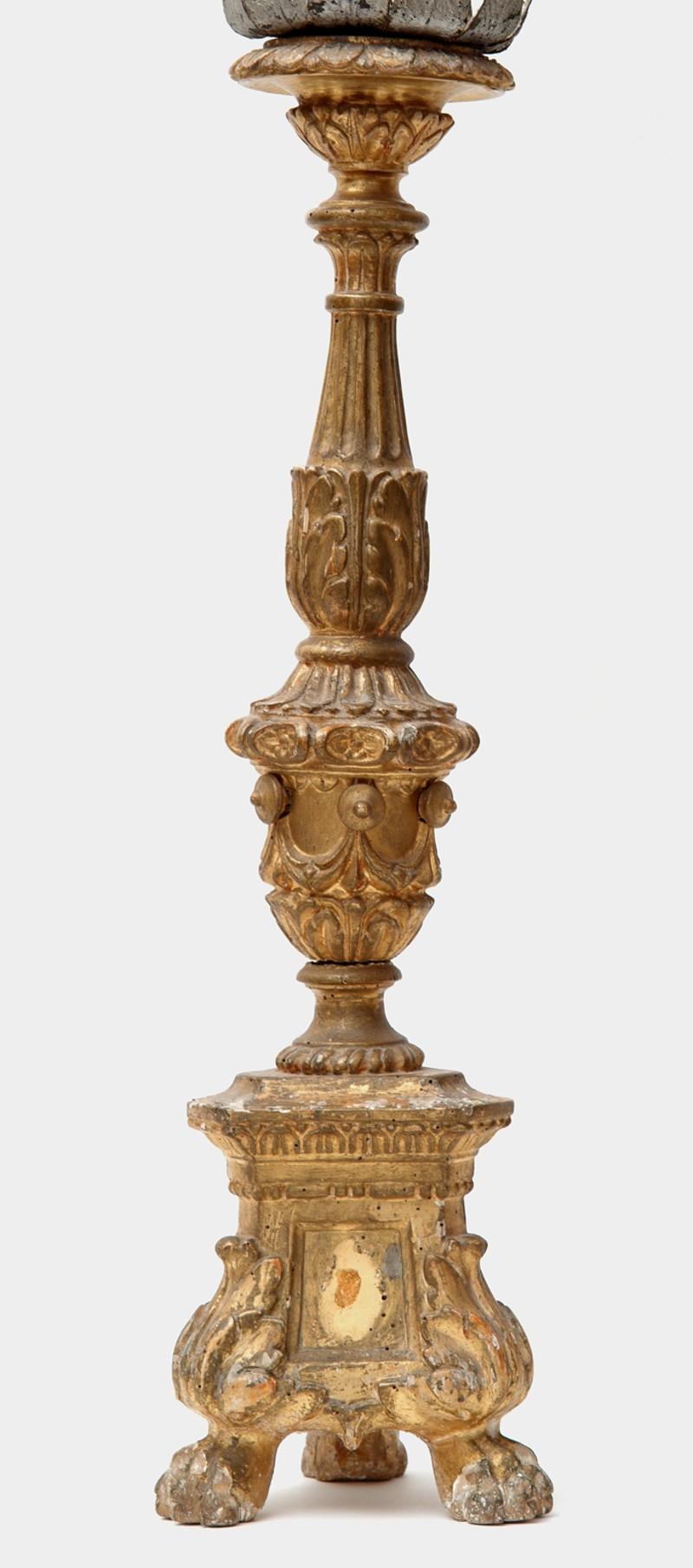 Artigianato veronese sec. XIX, Candeliere d'altare con drappi cm 58 1/4