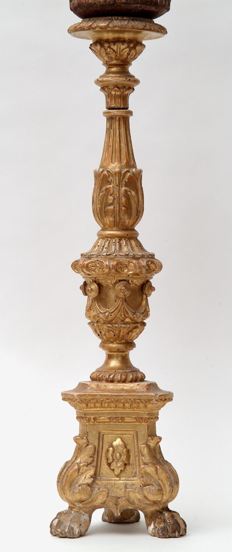 Artigianato veronese sec. XIX, Candeliere d'altare con drappi cm 58 2/4