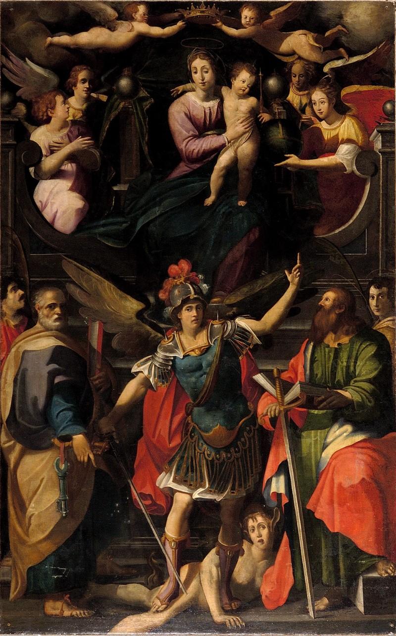 Caparozzi F.sec. XVII, Madonna in trono tra santi