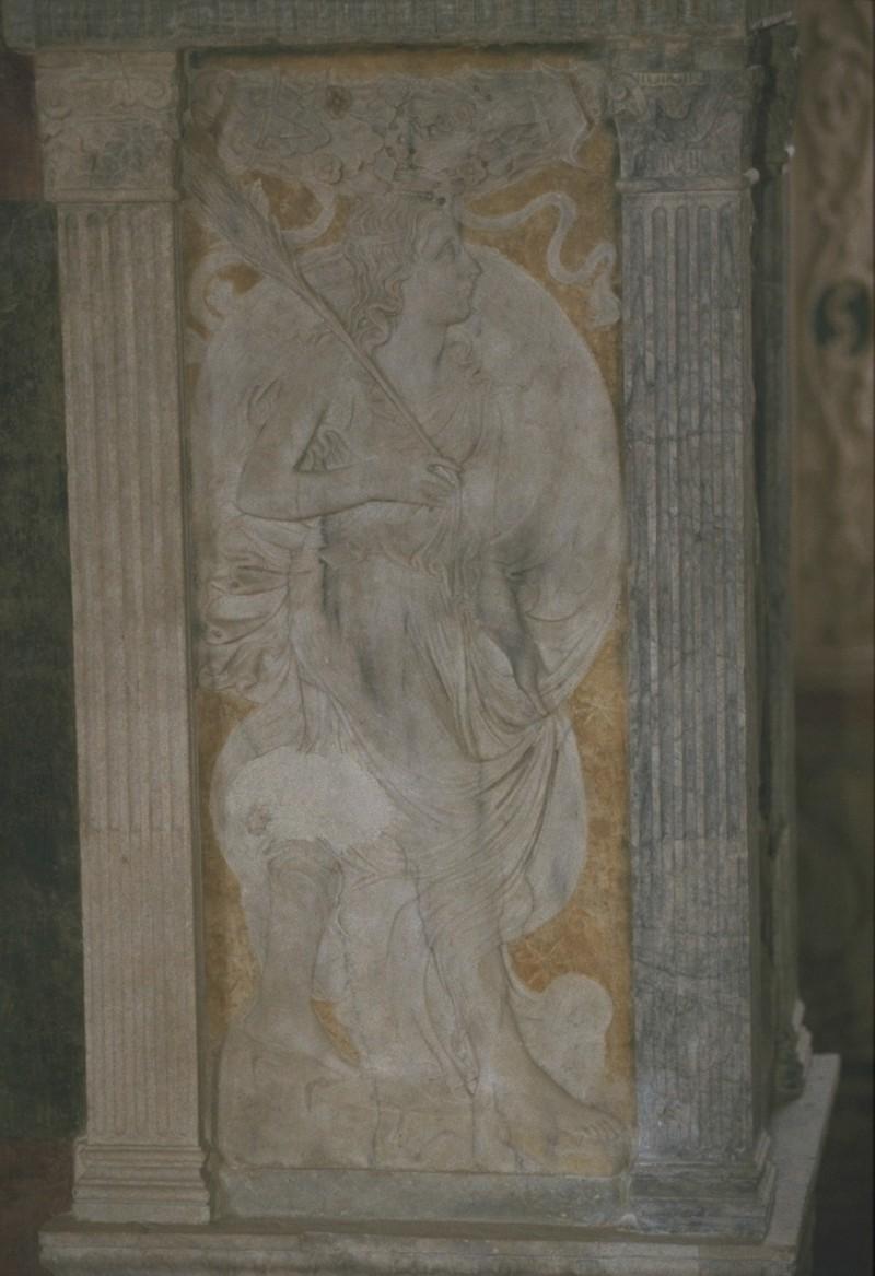 Agostino di Duccio (1454-1457), Bassorilievo con segno zodiacale della Vergine
