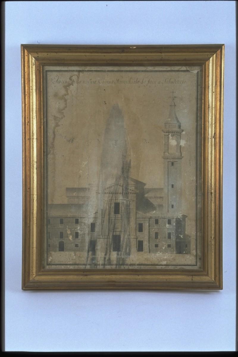 Achilli G. (1773), Disegno della facciata della chiesa di Saludecio