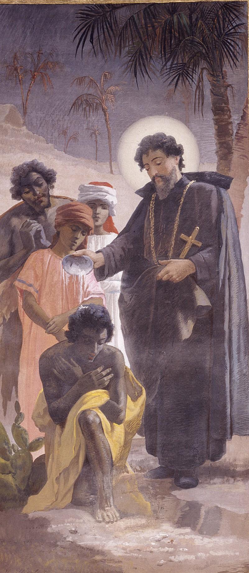Monti V. (1888-1890), Dipinto murale con San Pietro Claver