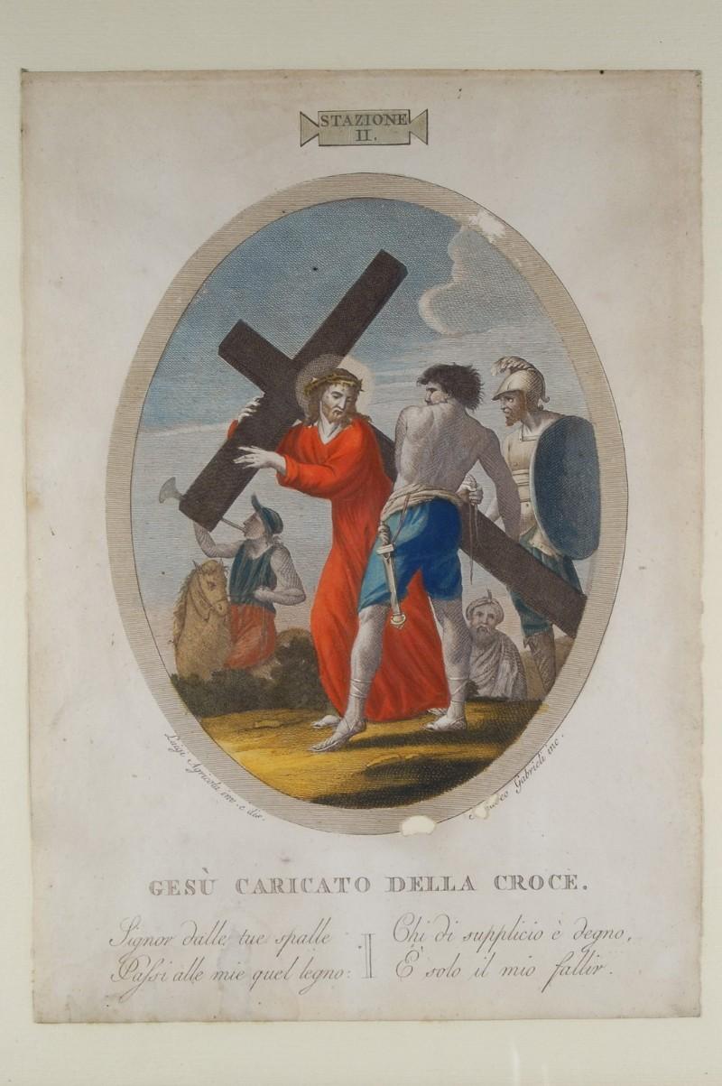 Agricola L. - Gabrieli A. sec. XIX, Via crucis con Gesù caricato della croce