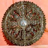 Bott. campana fine sec. XIX, Aureola in argento cesellato